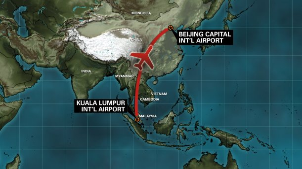 Malaysia Airlines Plane Missing - Route